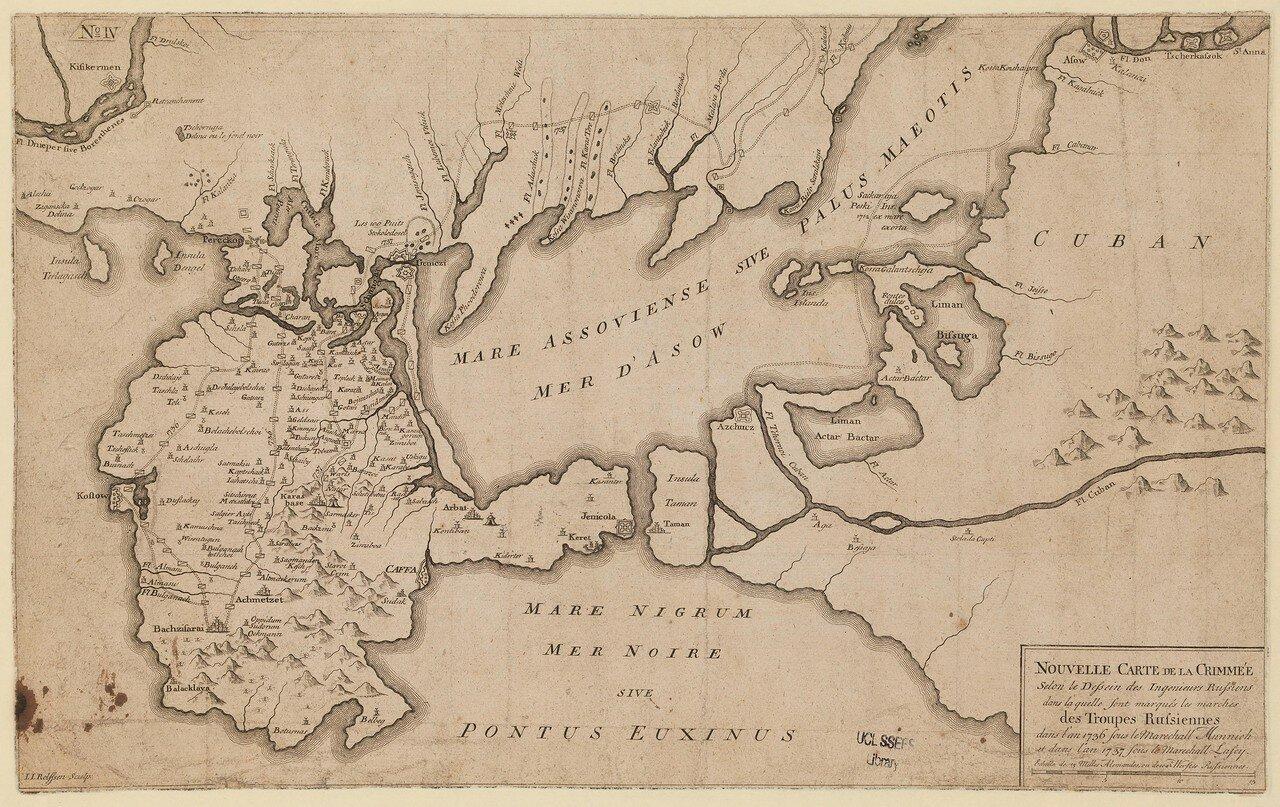 1739. Новая карта Крыма по проектам русских инженеров, находившихся при армии во время компаний 1729 и 1736 годов