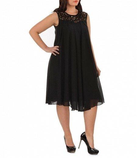 Черное платье шифон для полных Сайт ЖЕНЩИНА Marina Danilewskaya