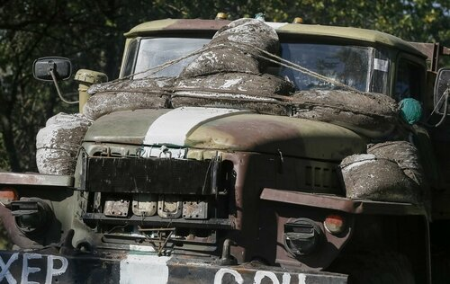 A Ukrainian military vehicle is seen near Kramatorsk