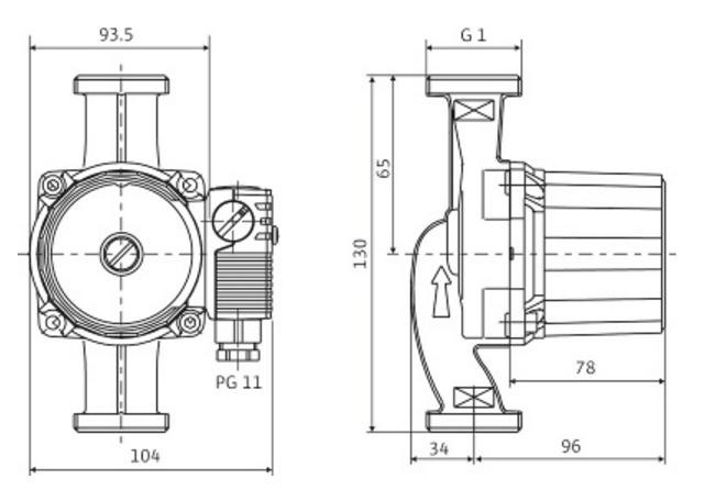 Циркуляционный насос для систем отопления Wilo STAR–RS 25/6–180 размеры