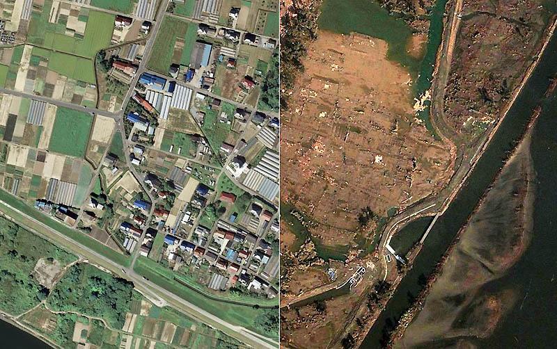 Снимки со спутника: До и после землетрясения в Японии (43 фото)