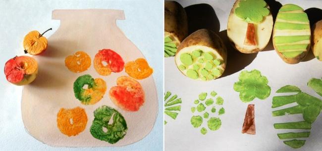 Овощ или фрукт нужно разрезать пополам. Потом можно вырезать нанем какой-то узор или оставить как е