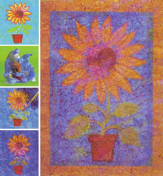 Восковыми карандашами рисуем натонкой бумаге изображение. Внашем случае— цветок. Фон должен быть