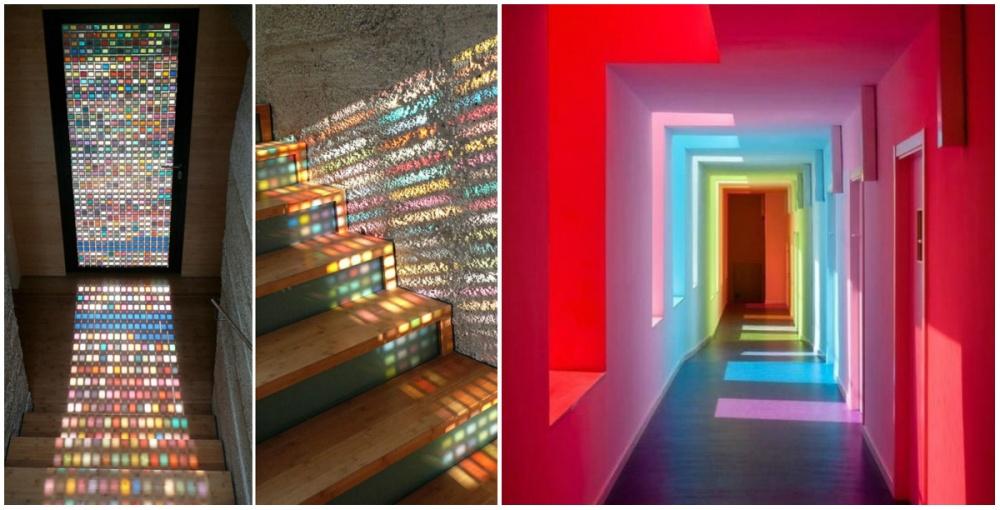 Если всеже душа просит много ярких цветов, можно поставить окна сцветным стеклом, асолнечный свет