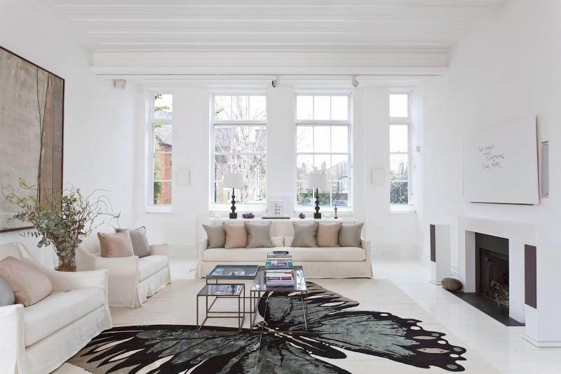 Белый цвет в интерьере гостиной, фото 2