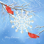 Christmas vector snowflake, birds, tree background