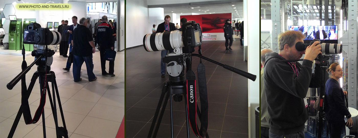 Фото 1. Штатив и специальная головка для съемки видео на зеркальную камеру. Справа - пример использования специального цифрового видоискателя на зеркалке Canon. Уроки для начинающих: как снимать видео на цифровую фотокамеру.