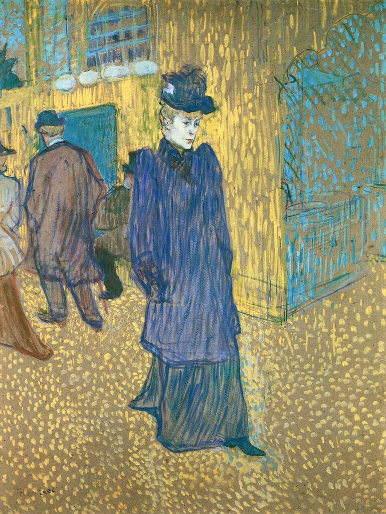 Jane Avril Leaving the Moulin Rouge - 1892 - Wadsworth Atheneum - Hartford, CT - Painting  oil on cardboard.jpg