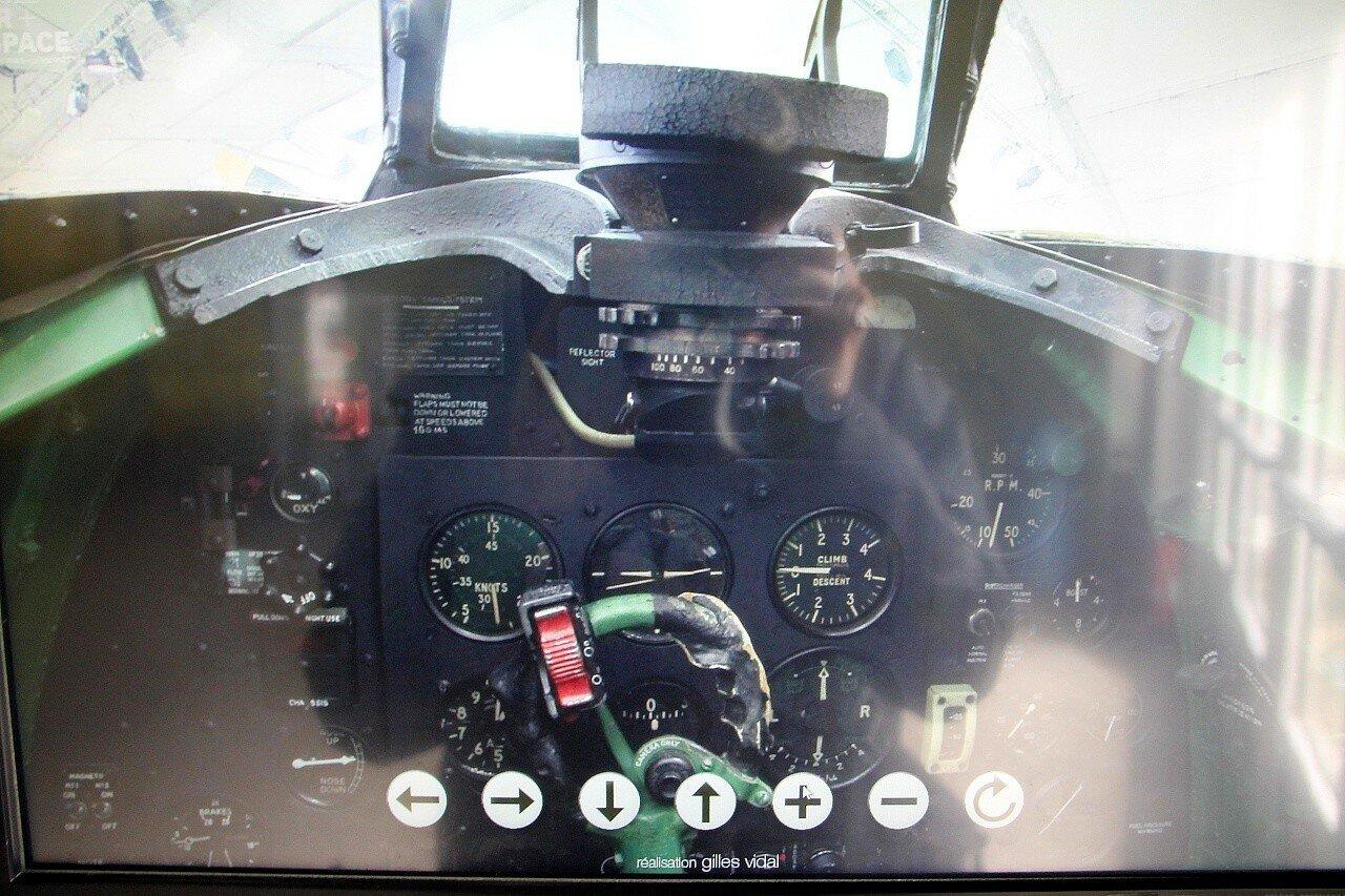 Музей авиации в Ле-Бурже. Истребитель Спитфайр (Spitfire Mk XVI). ЗD-тур по кабине