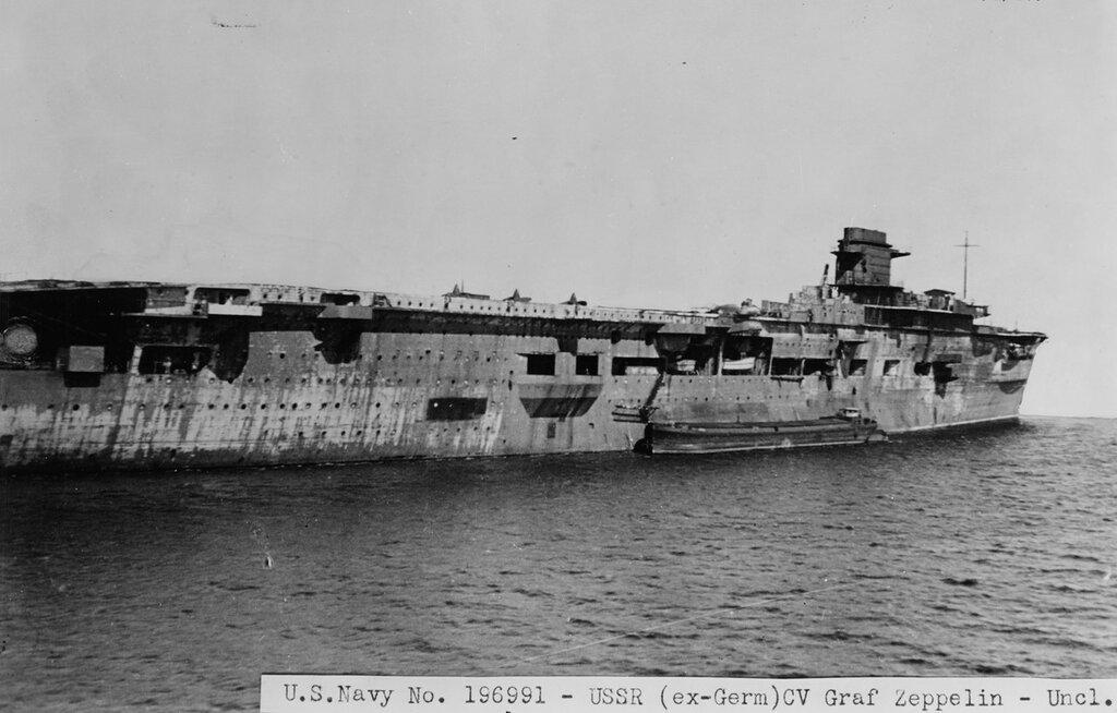 Soviet aircraft carrier (Ex-German GRAF ZEPPELIN (1938-1947)) on 5 April 1947 at Swinemuonde while in Soviet custody