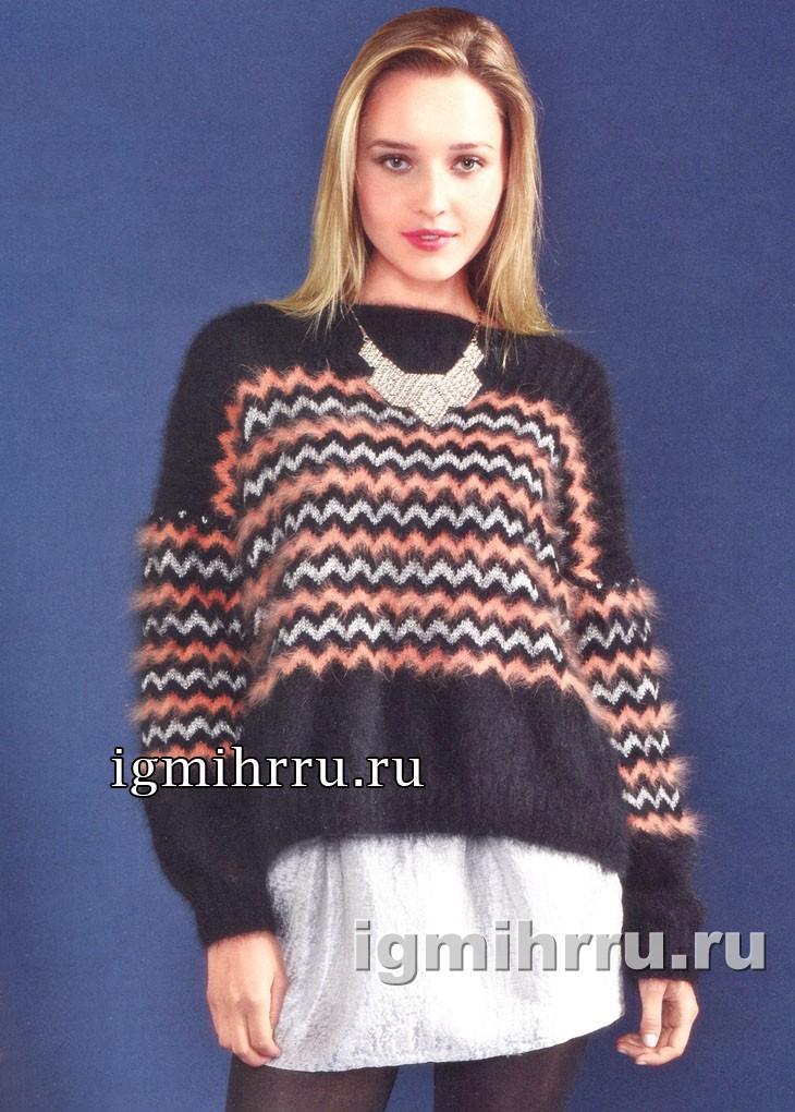 В стиле Миссони. Теплый пуловер с зигзагами. Вязание спицами
