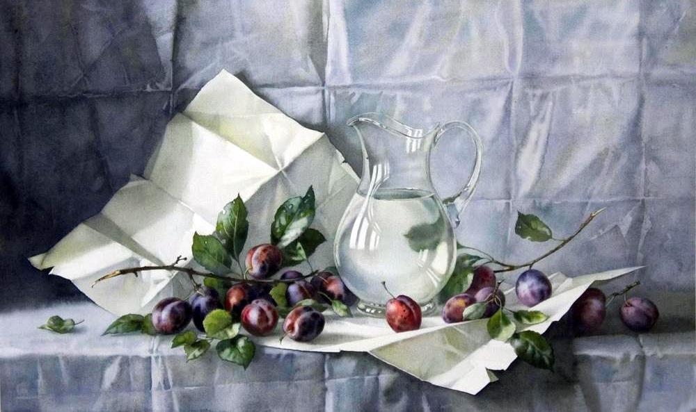 Бокал с фруктами рисунок