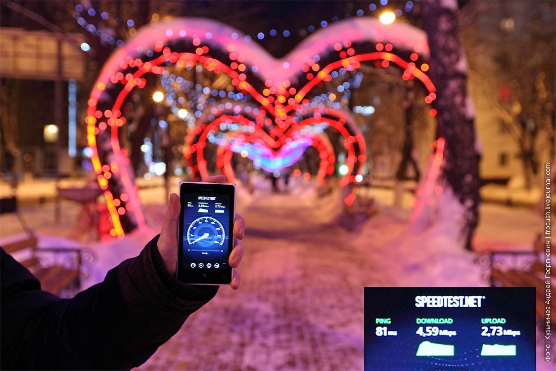тест скорости 3G Tele2 Московская область Химки аллея на улице Победы