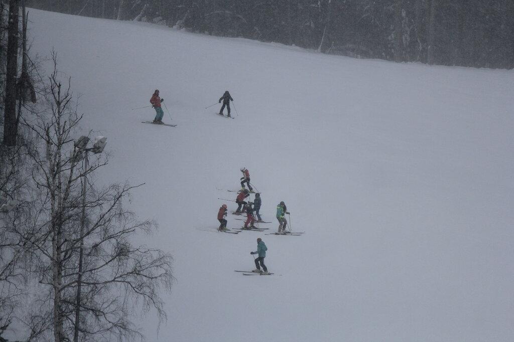 много детей горнолыжников на склоне