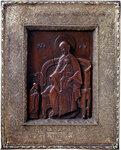 Икона резная Богоматерь на троне и преподобный Кирилл Белозерский