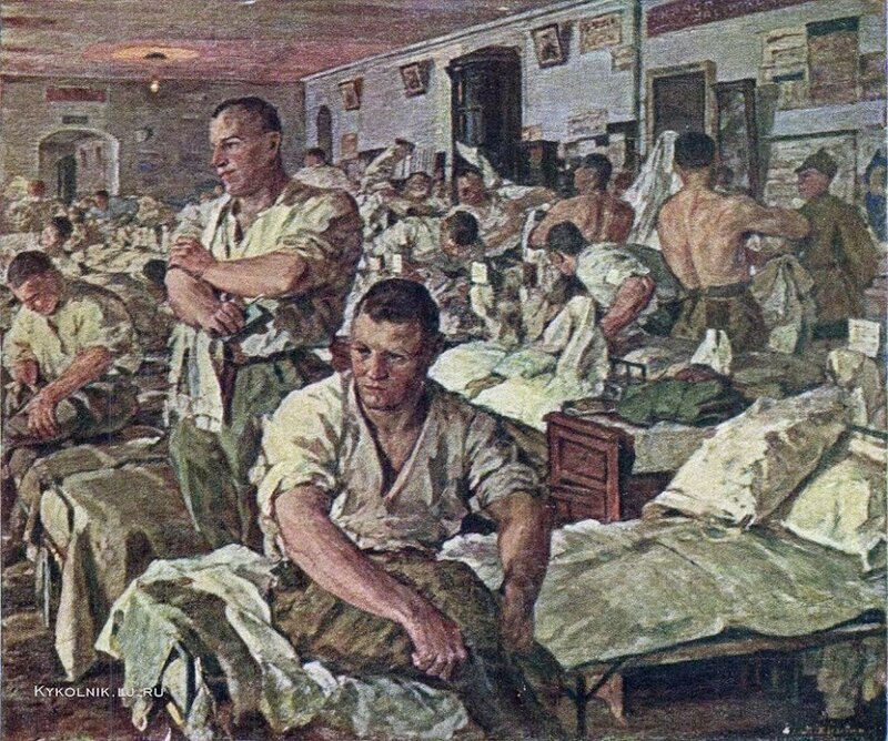 Хныгин Лазарь Алексеевич (1882-1969) «Утро в казарме Красной Армии» 1926.