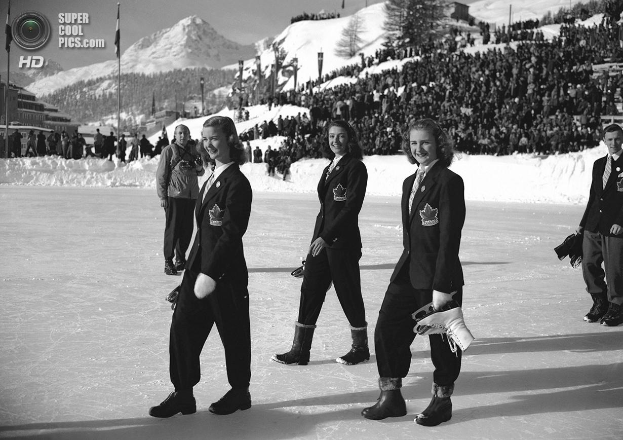 Швейцария. Санкт-Мориц, Граубюнден. 30 января 1948 года. Барбара Энн Скотт, Марион Рут Тейк и Сьюзан