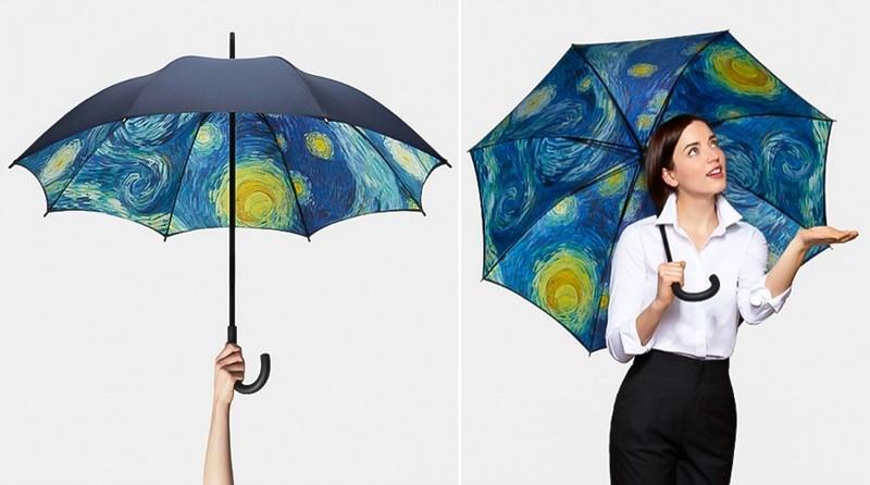 7. Зонт с картиной Зонт с фрагментом картины Ван Гога «Звездная ночь» для истинных ценителей искусст