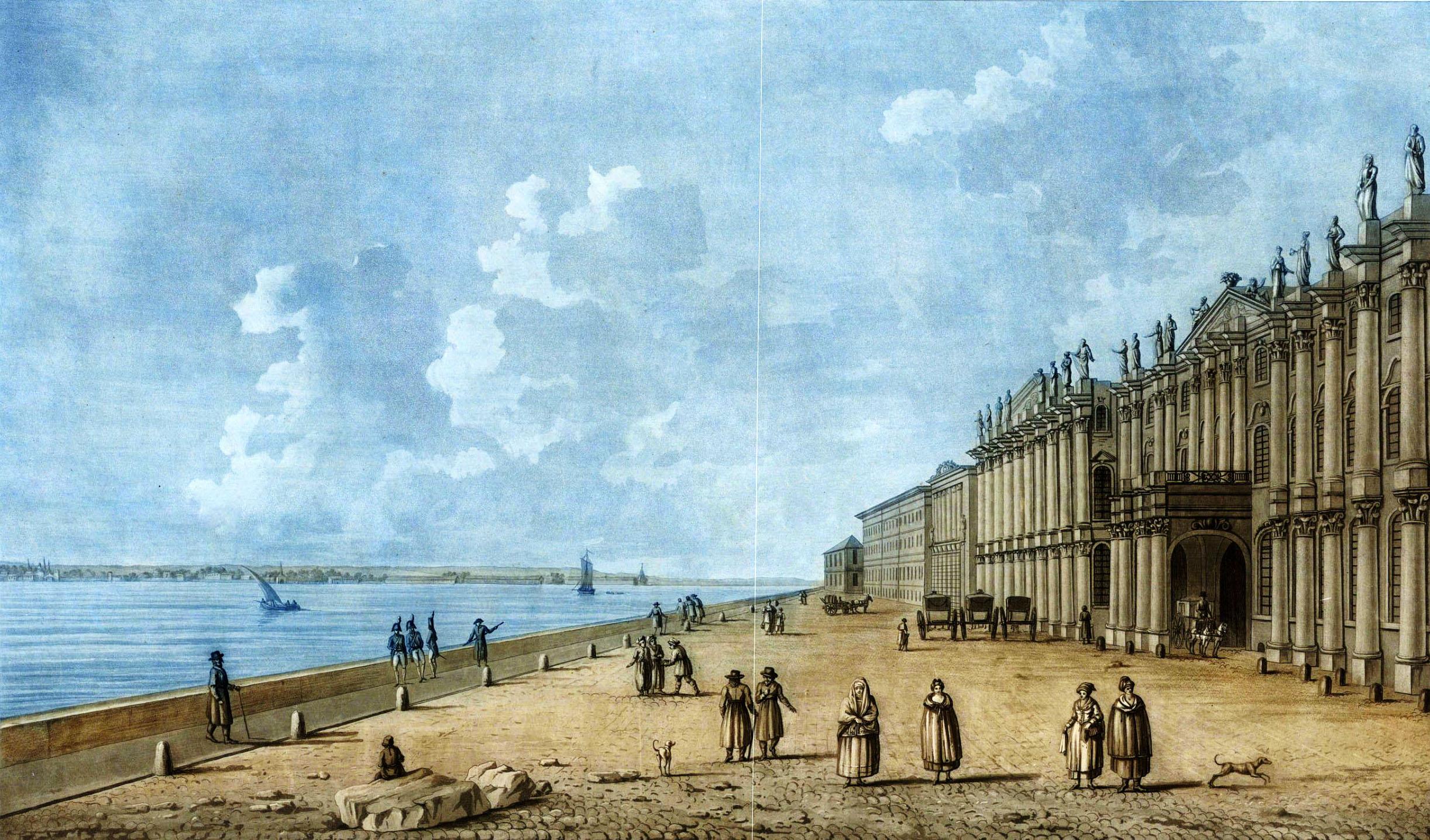 Дамам-Демартре М. Ф. Гравюра «Vue du Palas Impérial, du coté de la Néva» из Picture of Petersbourg (Orme) 1815 г.