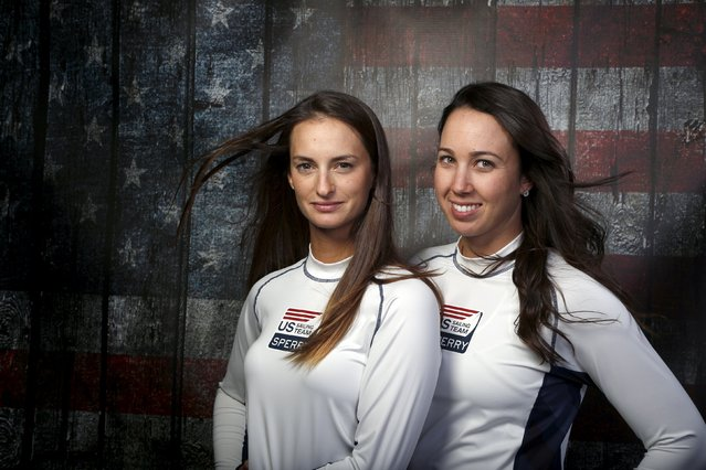 Sailors Annie Haeger (L) and Briana Provancha pose for a portrait at the U.S. Olympic Committee Medi