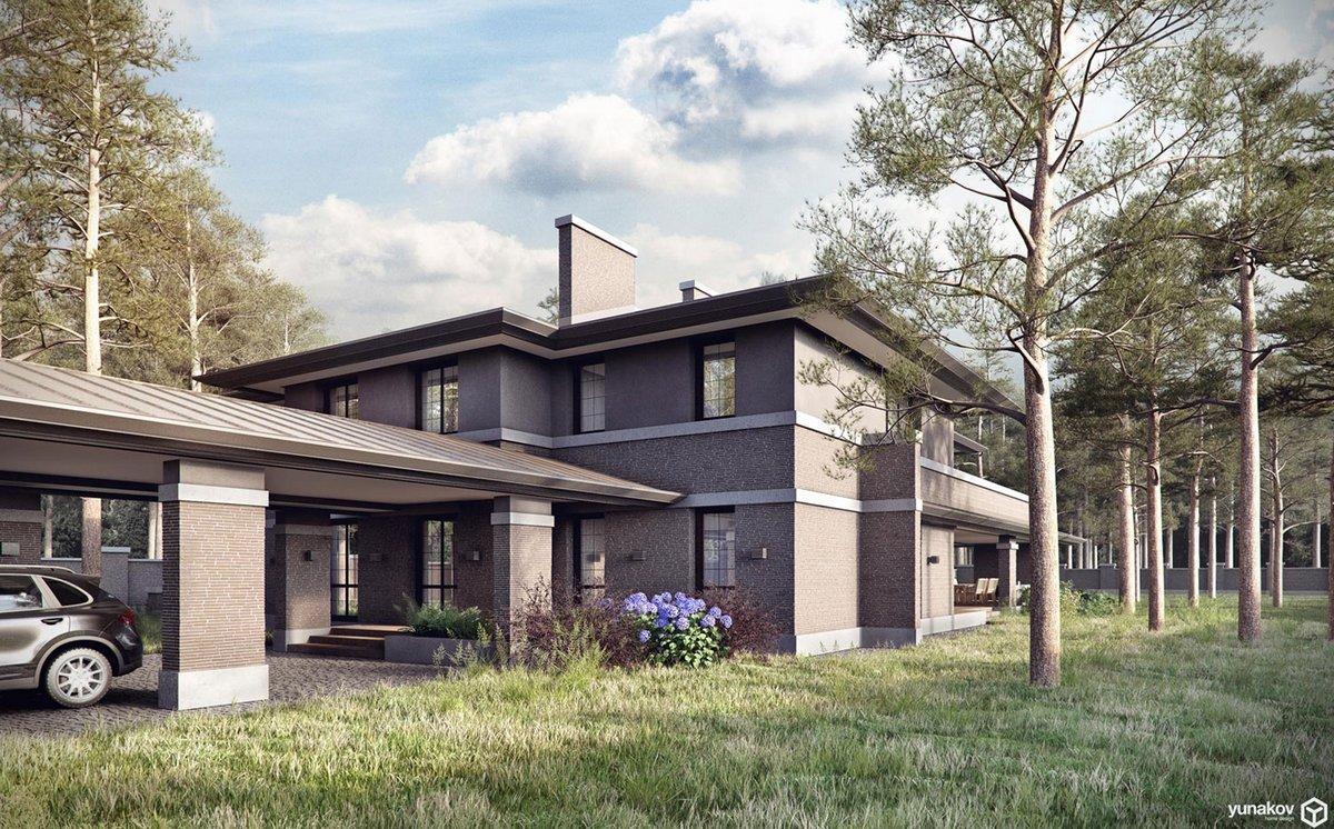 Yunakov architecture, проект дома в японском стиле, японский сад фото, дом в японском стиле, Prairie House, большие свесы крыши