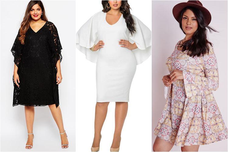 Платья с расклешенными рукавами для полных 2016