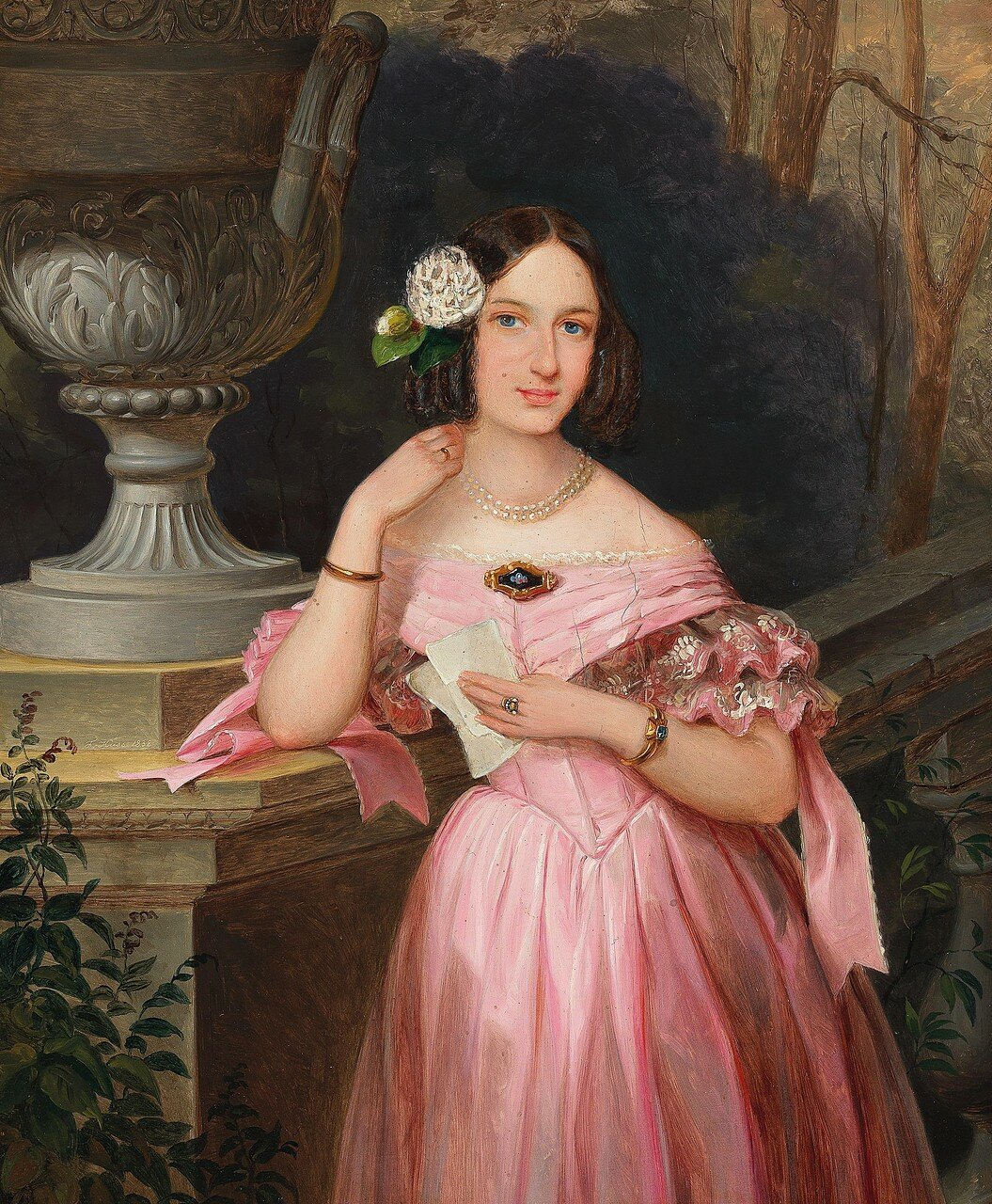 Johann Böss (Austria 1822-1887) Portrait of a young woman