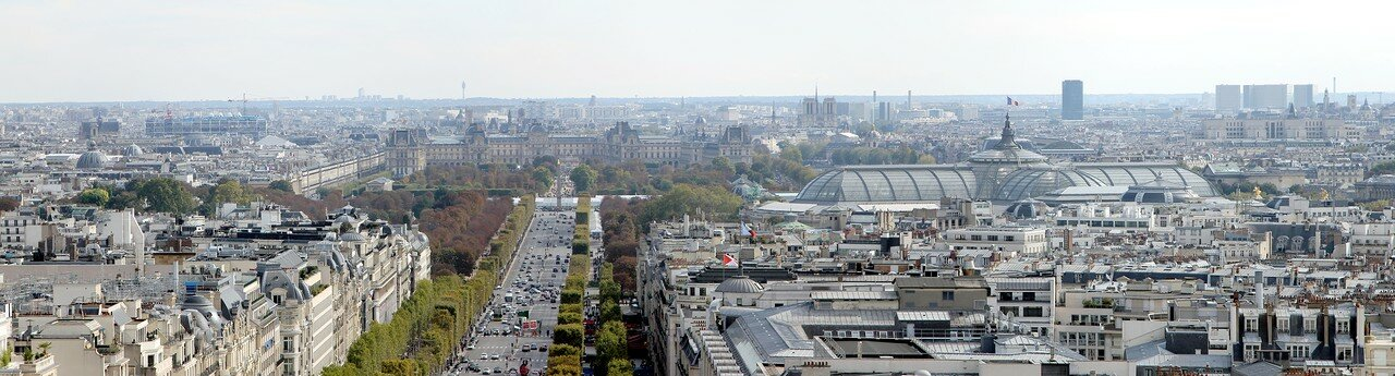 Paris view from Arc de Triomphe. Panoramic photo