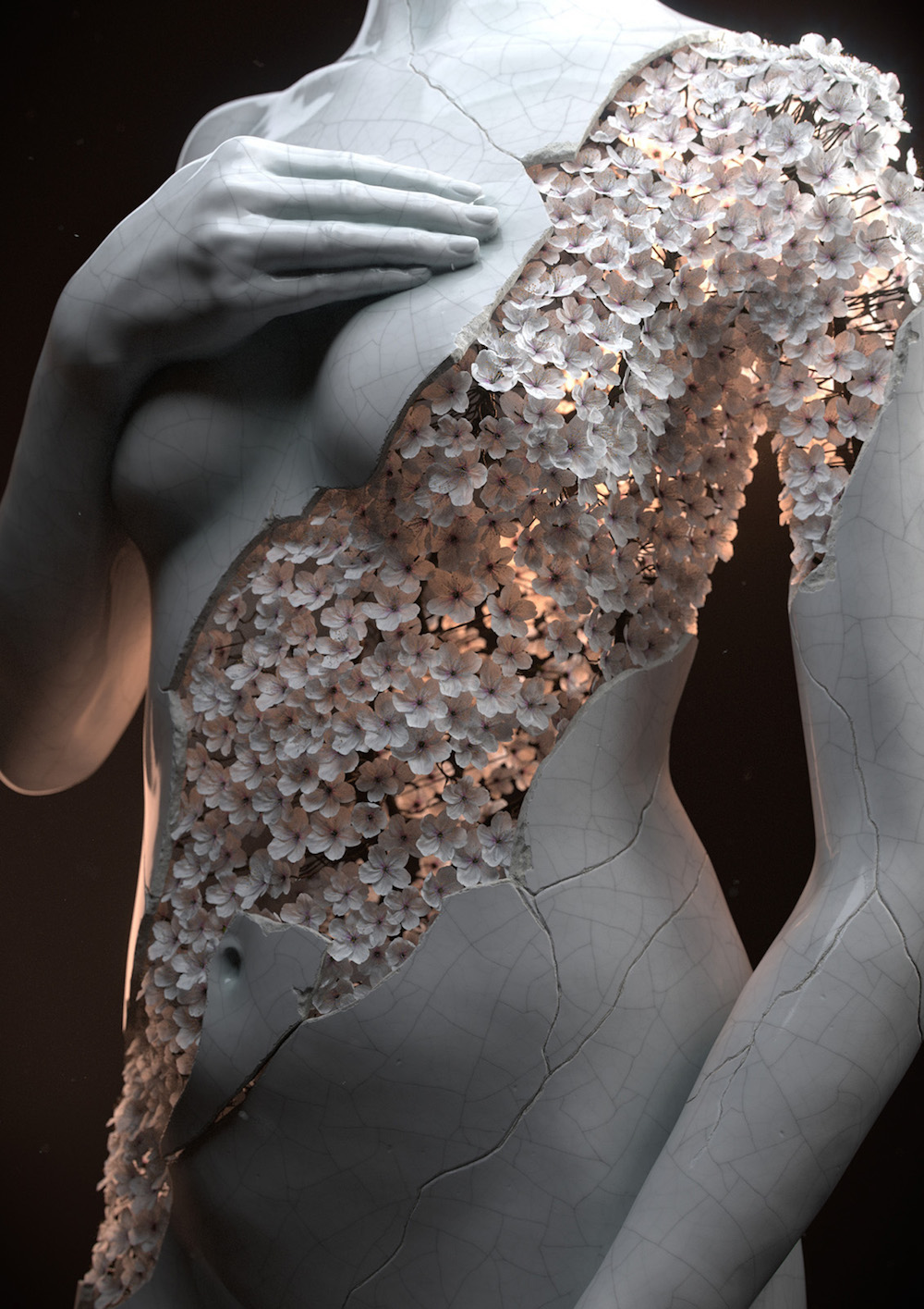 Digital Sculptures of Female Forms Rendered in Flowers by Jean-Michel Bihorel