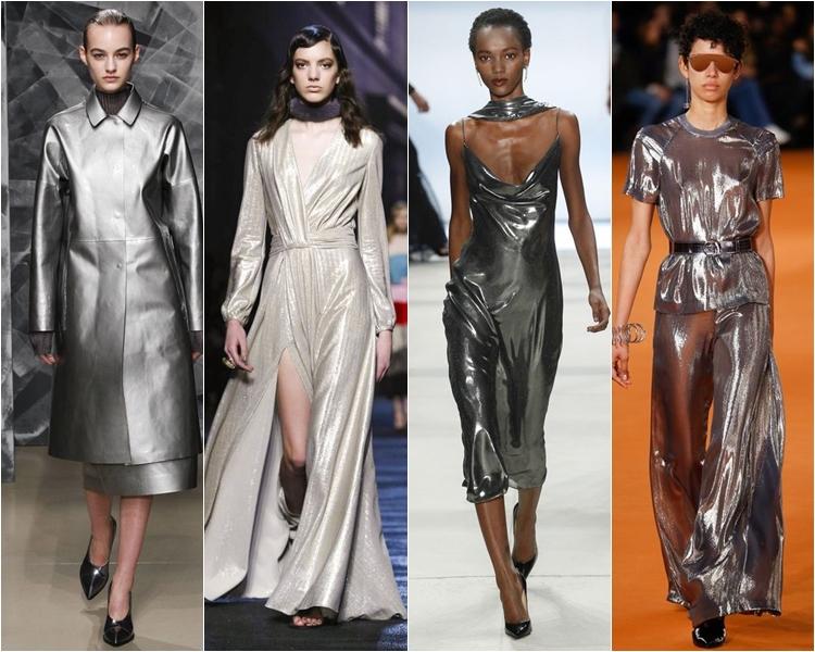серебристый металлик, платья и пальто, мода осень-зима 2016-2017