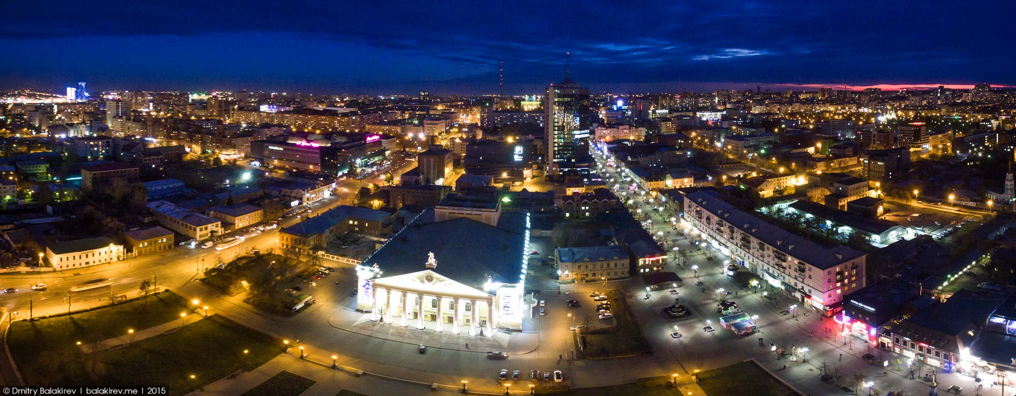 Ночной Челябинск с высоты