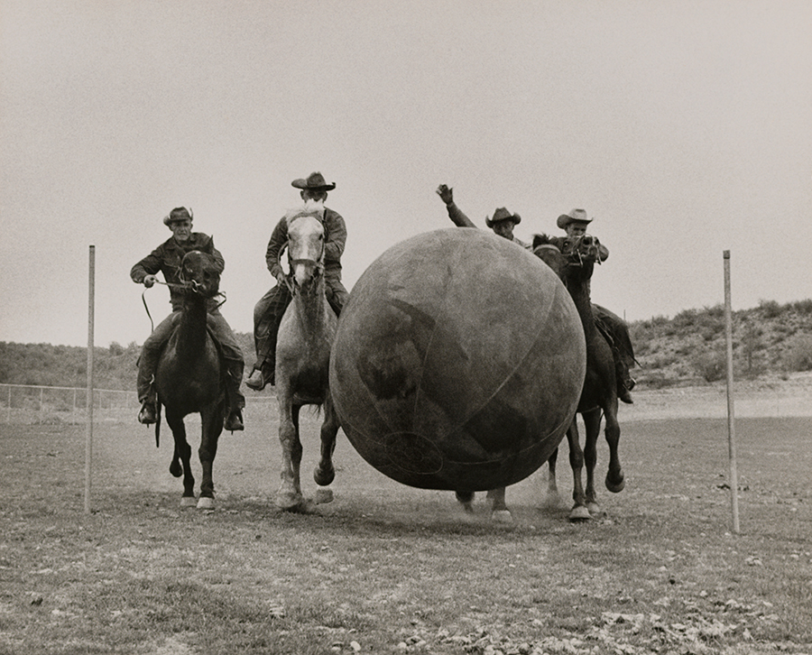 Arizona cowboys play sports to pass the time in Phoenix, 1955..jpg