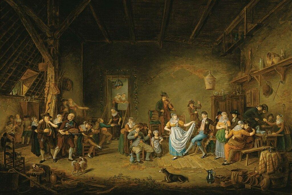 Horstok, Johannes Petrus van - Деревенская свадьба в Северной Голландии, 1805-10, 91 cm x 132 cm, Холст, масло.jpg