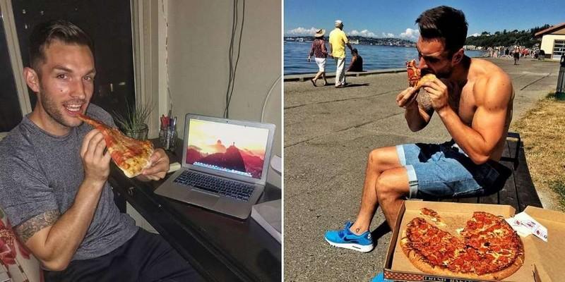 Парень путешествует по миру с пиццей в зубах