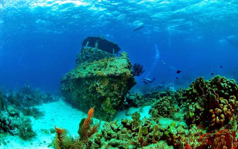 Севший накоралловые рифы буксир «Саба»— одна издостопримечательностей Кюрасао. Под водой укорабл