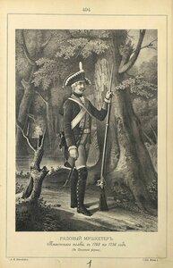 494. РЯДОВОЙ МУШКЕТЕР Пехотного полка, с 1763 по 1786 год. (В Пехотной форме).