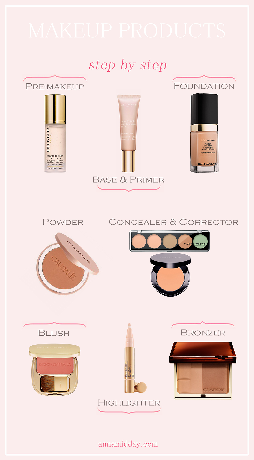 Clarins Bronzing Duo Mineral Powder Compact, Estee Lauder Double Wear Brush-On Glow BB Highlighter, Dolce&Gabbana The Blush Luminous Cheek Colour, Dolce&Gabbana Perfect Mono Cream Eye Colour, схема макияжа, скульптурирование лица, правила использования консилера, куда наносить консилер, Caudalie Mineral Bronzing Powder, Sothys Concealer Pencil, Clarins Instant Concealer, Estee Lauder Double Wear Stay-In-Place High Cover Concealer, Tom Ford Concealing Pen, косметика, макияж, правила макияжа, как наносить хайлайтер, как наносить корректор, корректоры цвета, как наносить тональный крем, как наносить праймер, правила скульптурирования лица, make up hacks, Payot Eclat Du Regard, Clarins Instant Light Brush-On Perfector, Dolce&Gabbana Perfect Reveal Lift Foundation, как замаскировать прыщик, Caudalie Vinoperfect Radiance Tinted Moisturizer, Make Up For Ever Ultra HD Invisible Cover Foundation, секреты макияжа, make up tutorial, concealer guide, primer guide, foundation guide, contour tutorial, YSL Touche Eclat Blur Primer, Clarins Instant Light Eye Perfecting Base, Make Up For Ever Step 1 Skin Equalizer Hydrating Base, Clarins Instant Light Radiance Boosting Complexion Base, Payot Super Base, Payot Skin-Perfecting Illuminating Serum, Caudalie Make-Up Removing Cleansing Oil, Eisenberg Lifting Regenerating Serum, Eisenberg Anti-Stress Treatment, Sothys Instant Energizing Corrector, Caudalie Vinoperfect Radiance Serum, YSL Forever Light Creator Dark Circle Corrector, схема макияжа лица, inspiration, annamidday, top beauty blogger, top russian beauty blogger, бьюти блогер, русский блогер, известный блогер, топовый блогер, russian bloger, top russian blogger, russian beauty blogger, blogger, российский блогер, ТОП блогер, популярный блогер, beauty tips, тренды в макияже 2015, новинки косметики 2015, анна миддэй, анна мидэй, бьюти блогер, русский бьюти блогер