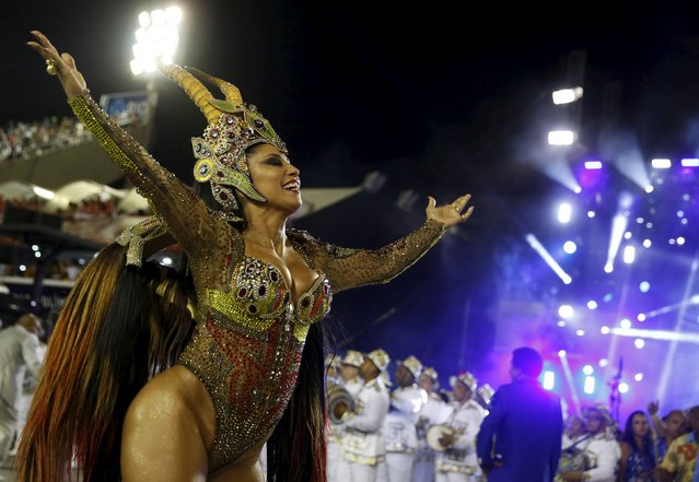 Portela samba school's Drum Queen Patricia Nery performs during the carnival parade at the Samb