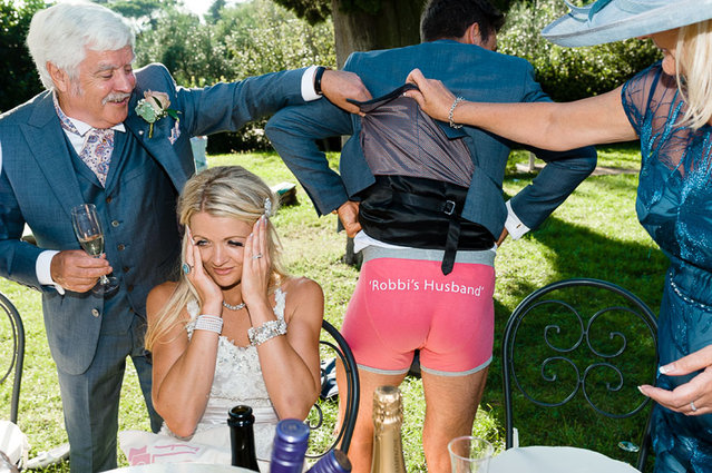 Husband wears underwear to show that he is now married to his wife. (Photo by Riccardo Bestetti/Cate