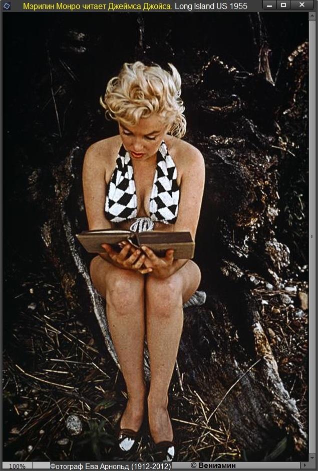 Мэрилин Монро читает Джеймса Джойса. Long Island, USA 1955, фотограф Ева Арнольд