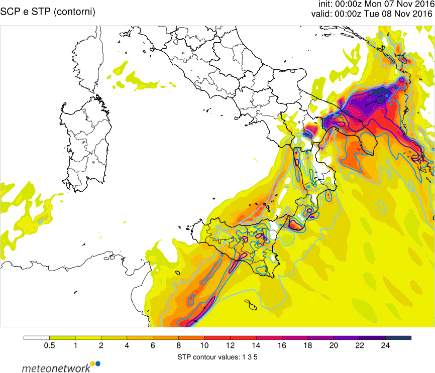 Moderately unstable (1000-1500 J/kg MLCAPE) but strongly sheared (30-35 m/s) and helical environment (SREH in excess of 500 m2/s2) appears conductive for development of numerous supercells
