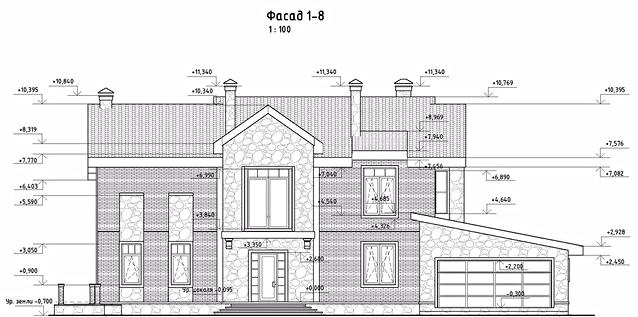 проект дома, фасад 1