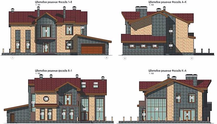 проект дома, цветовое решение фасадов