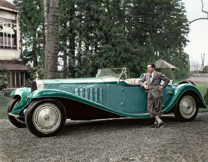 Жан Бугатти рядом с Bugatti Royale Esders Roadster, 1932 год.