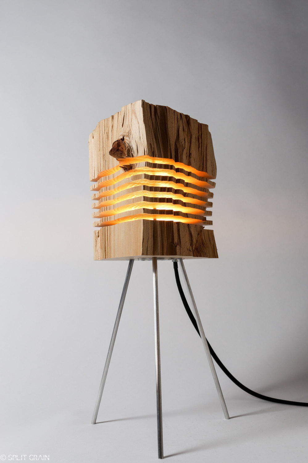 Minimalist Sliced Firewood Lamps by Split Grain
