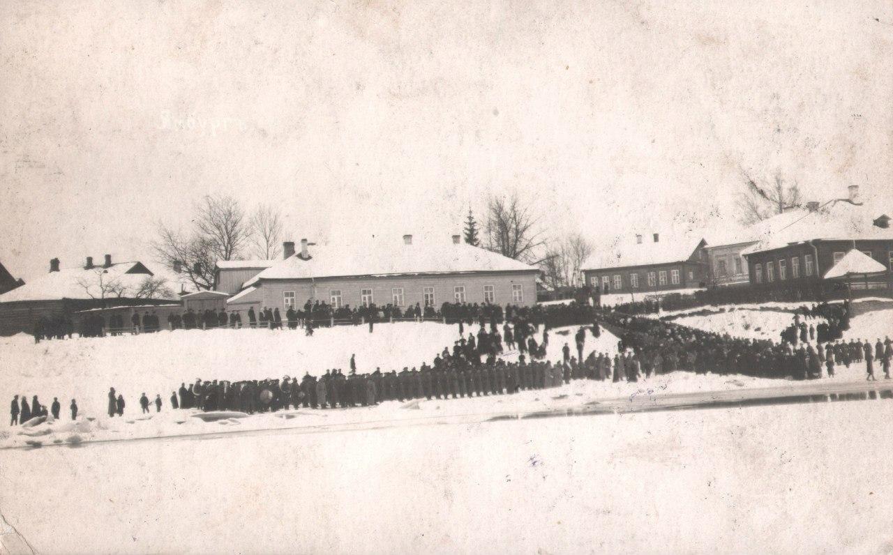 Крестный ход на Иордань 146-го Царицынского полка. 1911