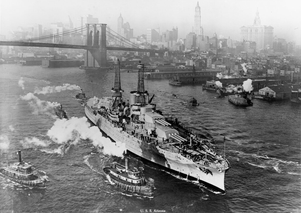 USS Arizona (BB-39) In the East River, New York City, at the time of her trials, circa mid-1916