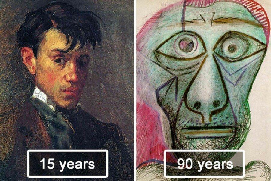 Автопортрет Пикассо. Эволюция от 15 до 90 лет