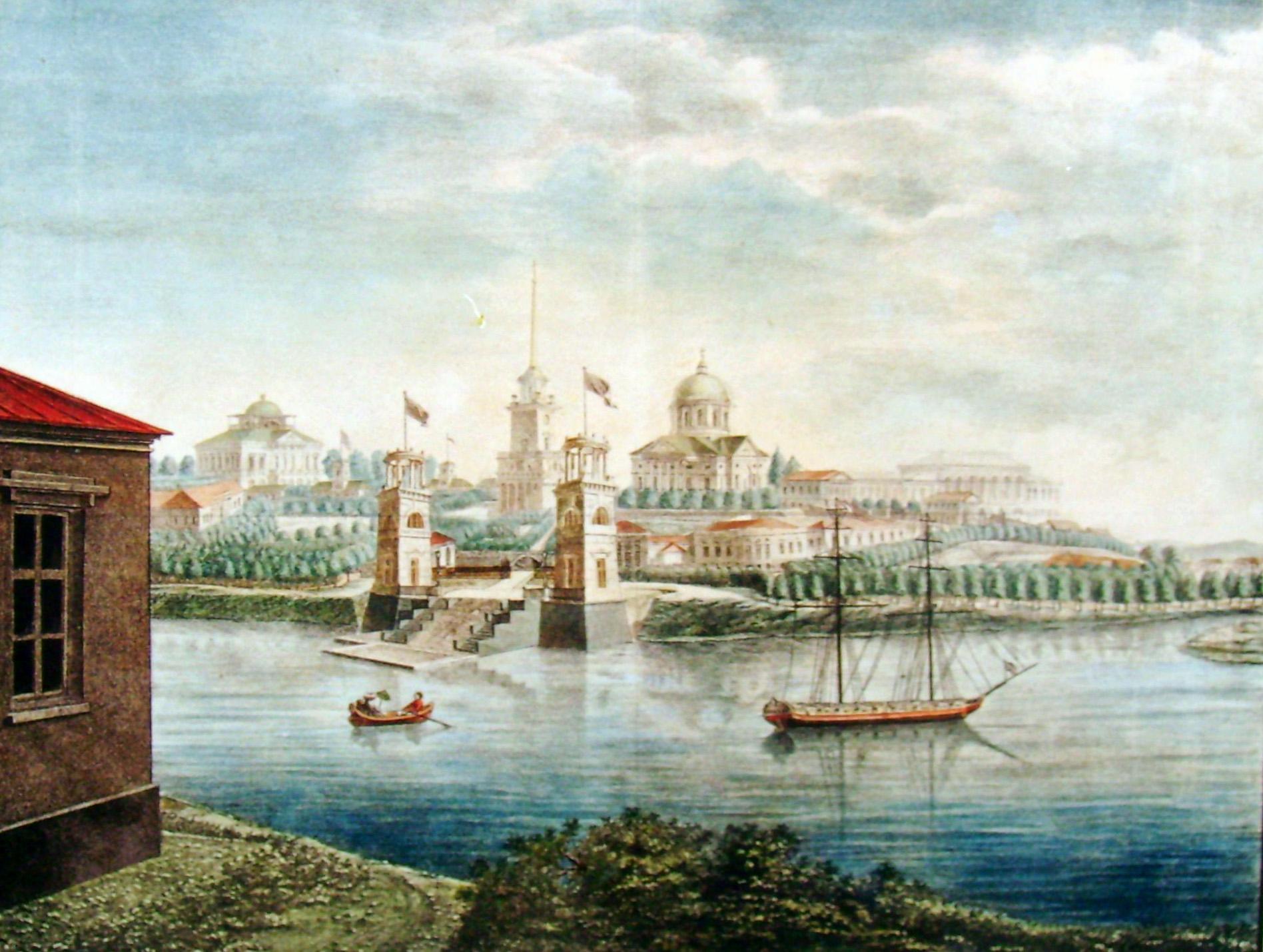 1. Общий вид Села Грузина с приезда от Санкт-Петербурга 1822 г. Рис<овал> на кам<не> Г... Каношенкин.