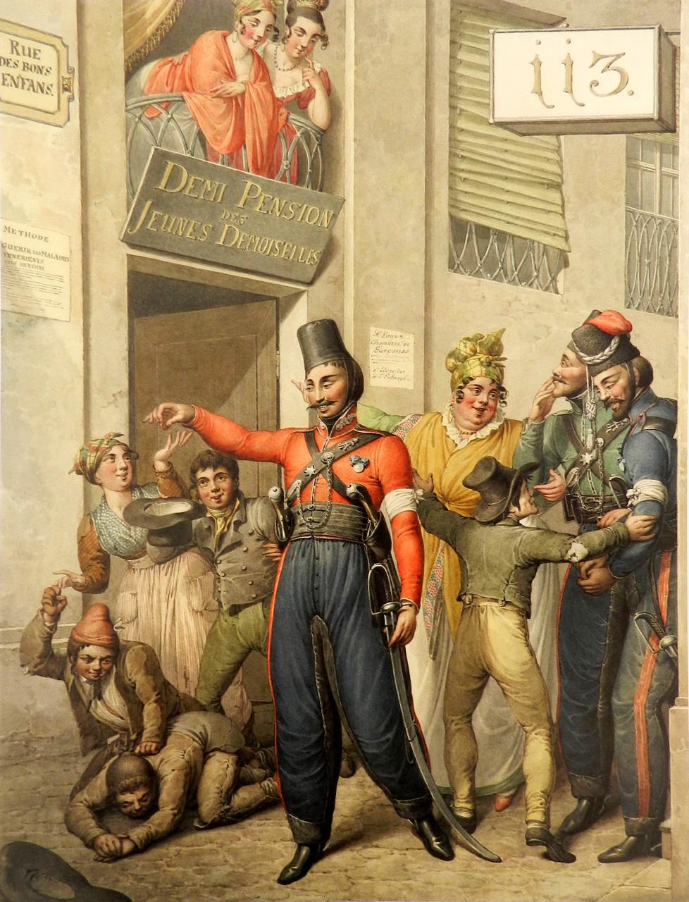 23. Русские казаки на улице «Rue des bons enfans»